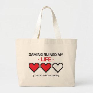 GAMING RUINED MY LIFE! LARGE TOTE BAG