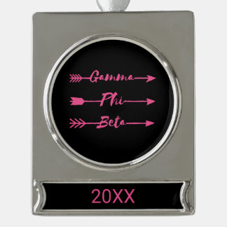 Gamma Phi Beta Arrow Silver Plated Banner Ornament