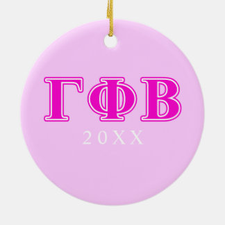 Gamma Phi Beta Bright Pink Letters Christmas Ornament
