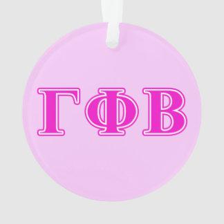 Gamma Phi Beta Bright Pink Letters Ornament