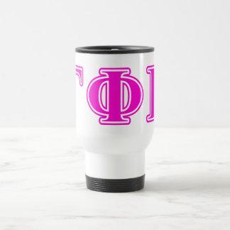 Gamma Phi Beta Bright Pink Letters Travel Mug