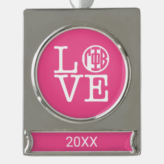 Gamma Phi Beta Love Silver Plated Banner Ornament