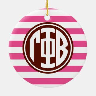 Gamma Phi Beta   Monogram Stripe Pattern Christmas Ornament
