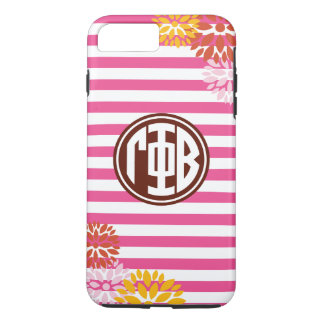 Gamma Phi Beta   Monogram Stripe Pattern iPhone 8 Plus/7 Plus Case
