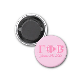 Gamma Phi Beta Pink Letters 3 Cm Round Magnet