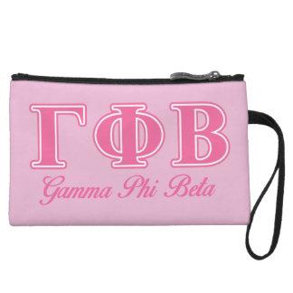 Gamma Phi Beta Pink Letters Wristlet Purse