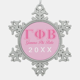 Gamma Phi Beta Pink Letters Snowflake Pewter Christmas Ornament