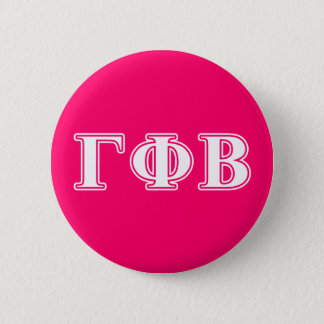 Gamma Phi Beta White and Pink Letters 6 Cm Round Badge