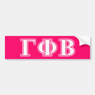 Gamma Phi Beta White and Pink Letters Bumper Sticker