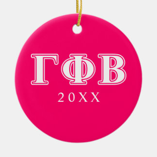 Gamma Phi Beta White and Pink Letters Christmas Ornament
