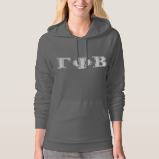 Gamma Phi Beta White and Pink Letters Hoodie
