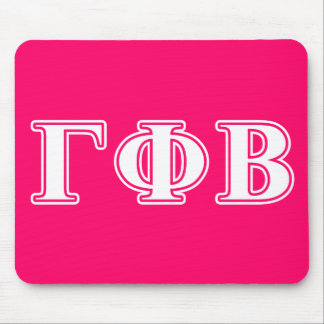 Gamma Phi Beta White and Pink Letters Mouse Mat