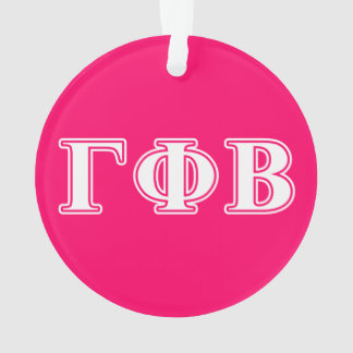 Gamma Phi Beta White and Pink Letters Ornament