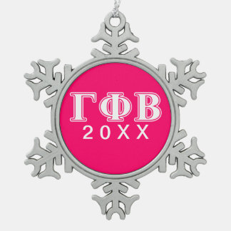 Gamma Phi Beta White and Pink Letters Snowflake Pewter Christmas Ornament
