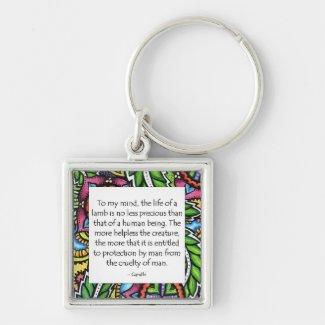 Gandhi Animal Quote Key Ring