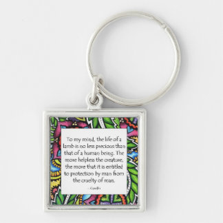 Gandhi Animal Quote Silver-Colored Square Key Ring