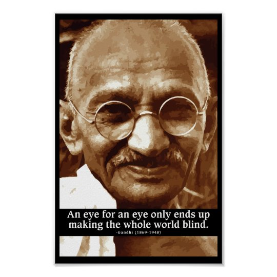 Gandhi 'Eye for an eye' wisdom quote poster