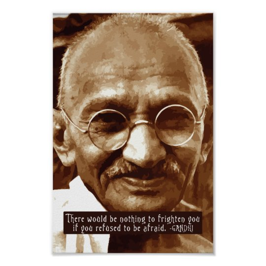 Gandhi 'Fear' inspirational quote poster