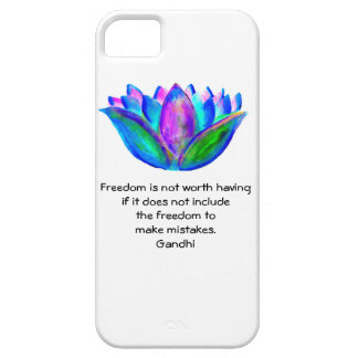 Gandhi Freedom Quote With Lotus Blossom Photo Case For The iPhone 5