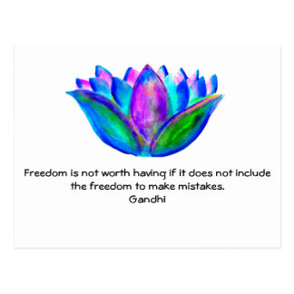 Gandhi Freedom Quote With Lotus Blossom Photo Postcard