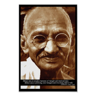 Gandhi 'Harmony of thought' wisdom quote poster
