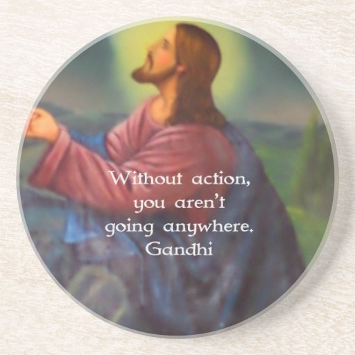 Gandhi Inspirational Quotation About Taking Action Drink Coasters
