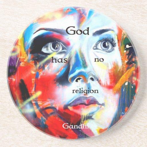 Gandhi Spiritual Quotation God Has No Religion Coaster