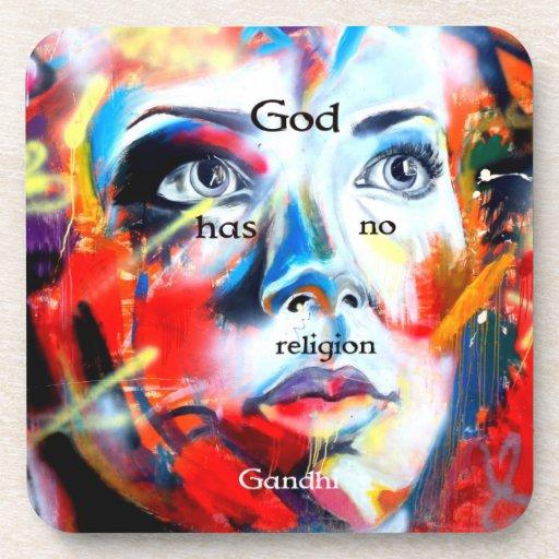 Gandhi Spiritual Quotation God Has No Religion Coasters