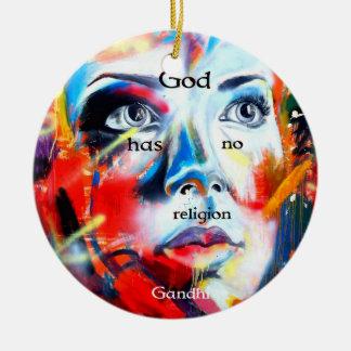 Gandhi Spiritual Quotation God Has No Religion Round Ceramic Decoration