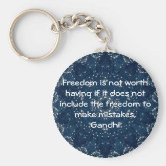 Gandhi Wisdom Quotation Saying about Freedom Basic Round Button Key Ring