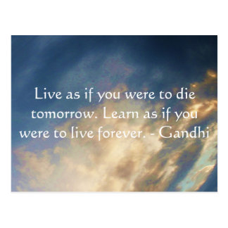 Gandhi Wisdom Quote With Blue Sky clouds Postcard