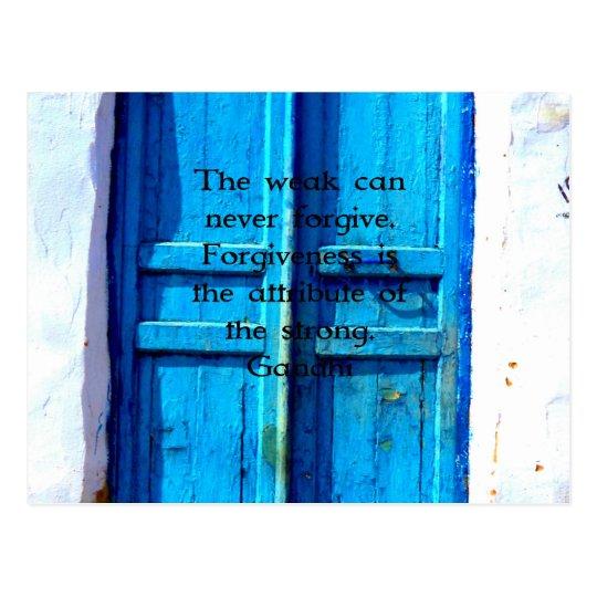 Gandhi Wisdom Quote with Vintage Blue Greek Door Postcard