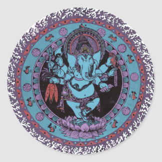 Ganesh Dancer Round Sticker