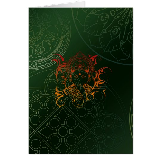Ganesh Elephant Mandala orange green Yoga Asia Card