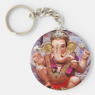 Ganesh Ganesha Hindu India Asian Elephant Deity Basic Round Button Key Ring