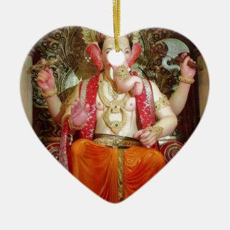 Ganesh Ganesha Hindu India Asian Elephant Deity Ceramic Heart Decoration