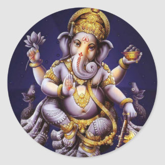 Ganesh Ganesha Hindu India Asian Elephant Deity Classic Round Sticker