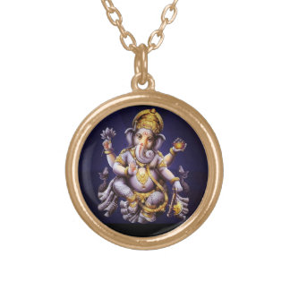 Ganesh Ganesha Hindu India Asian Elephant Deity Gold Plated Necklace
