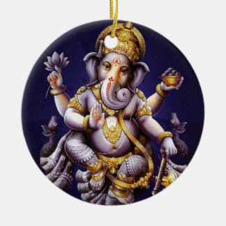 Ganesh Ganesha Hindu India Asian Elephant Deity Round Ceramic Decoration