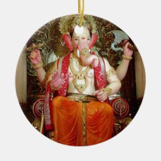 Ganesh Ganesha Hindu India Asian Elephant Deity Round Ceramic Decoration