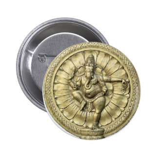 Ganesh (Golden) 6 Cm Round Badge