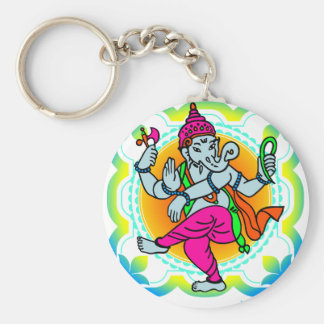 Ganesh in Rainbow colorful design Basic Round Button Key Ring