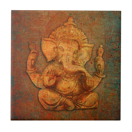 Ganesh On A Distress Stone Background Small Square Tile