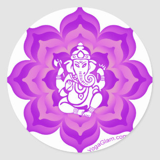 Ganesh purple design classic round sticker