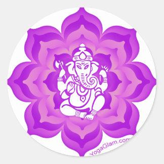 Ganesh purple design round sticker