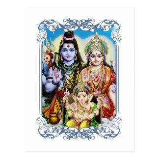 Ganesh, Shiva and Parvati, Lord Ganesha, Durga Postcard