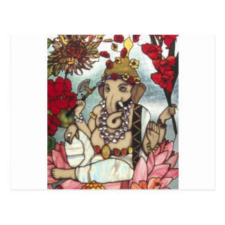 GANESH STAINED GLASS 12 FEB 2014 jpg Post Card