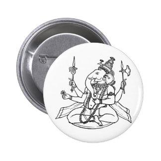 Ganesh the Hindu God of Luck Pinback Button