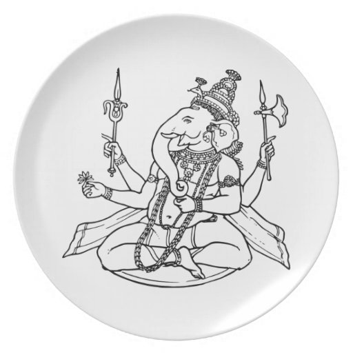 Ganesh, the Hindu God of Luck Party Plate