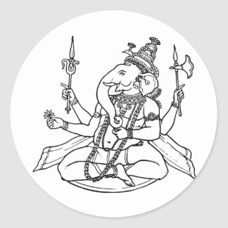 Ganesh, the Hindu God of Luck Round Sticker